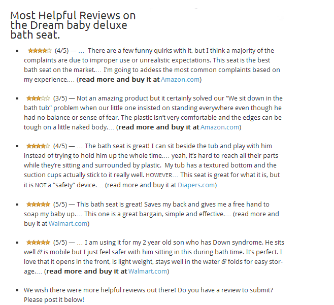 Most Helpful Reviews on the Dream Baby Deluxe Bath Seat